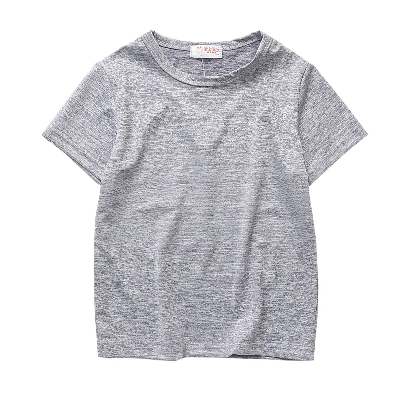 Simple round collar  kids casual t-shirt
