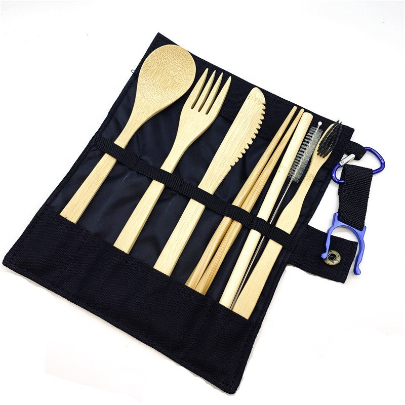 Bamboo Utensils travel Cutlery <strong>Set</strong> Eco-Friendly Wooden Outdoor Portable Utensils Zero waste bamboo cutlery <strong>set</strong>