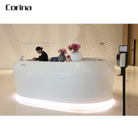 Corina office Reception Desk white acrylic solid surface hotel reception Counter