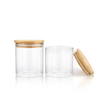 2020 Hot sale 1oz 2oz 4oz 8oz 10oz durable spice glass bamboo wooden lid glass jar for storage air tight clear wide mouth