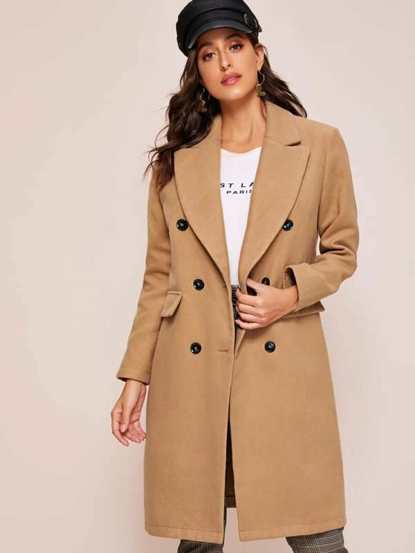 KY khaki Lapel Double Breasted coats for ladies 100% Polyester winter Notched Collar Solid Pea Coat