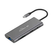 Blueendless aluminum usb <strong>c</strong> hub 9 in 1 4K VGA TF SD card reader 3.5mm audio RJ45 usb 3.0 5gbps 9 in 1 usb adapter