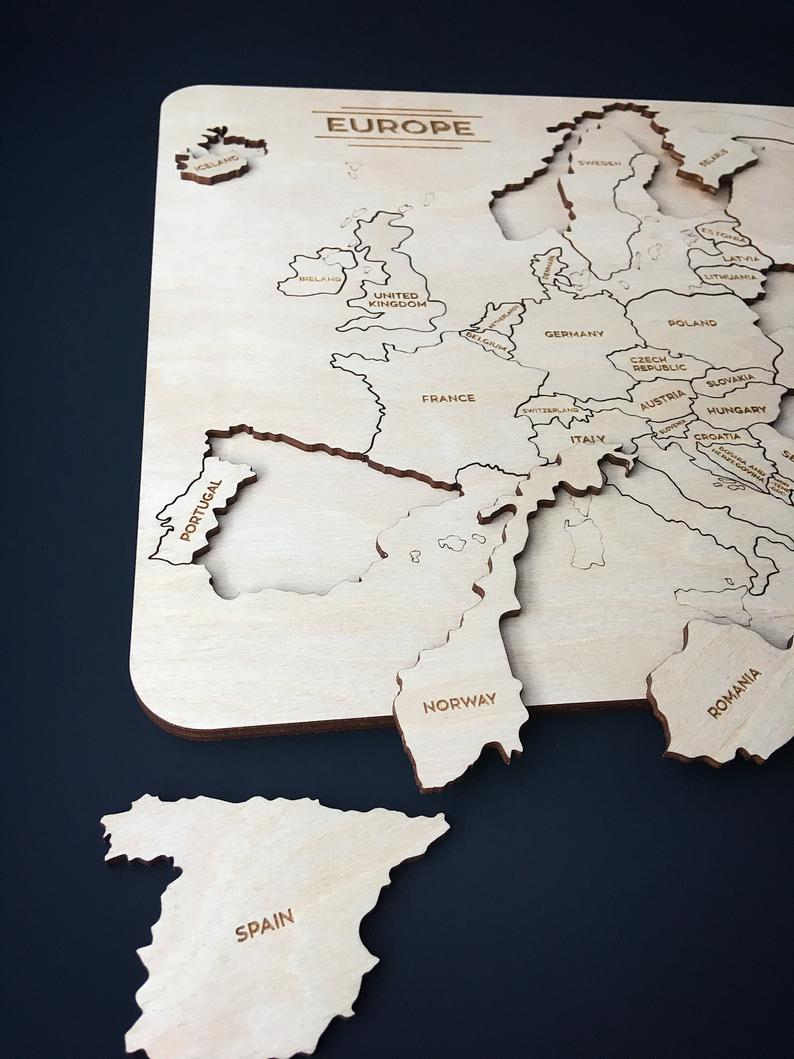 Europe Magnetic Wooden Puzzle Map