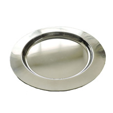 5 pcs <strong>flat</strong> and round shaped stainless steel serving platter set for home and hotel use