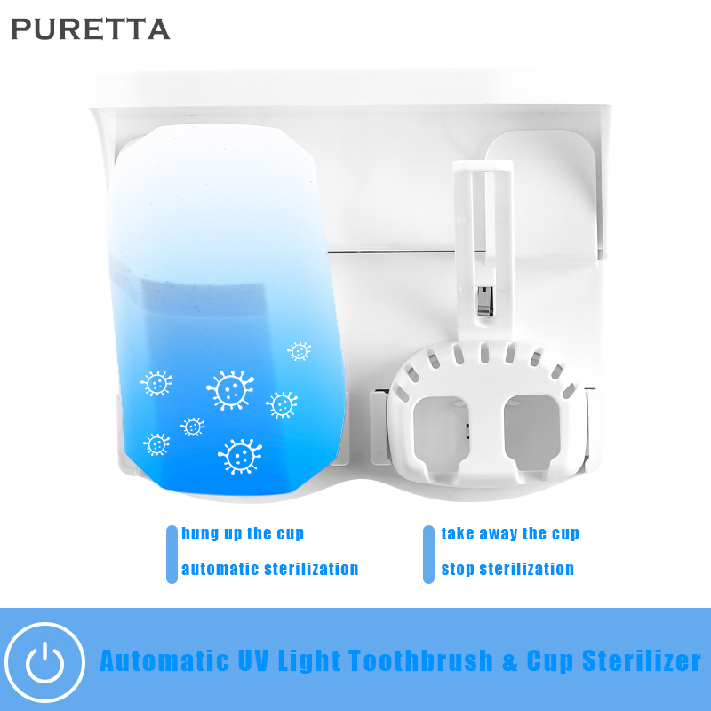 Wholesale Custom Logo Light UV Lamp Toothbrush Holder Disinfection With Double Tooth Cup