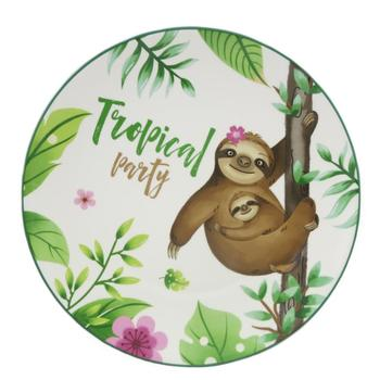 Sloth plate Dinner Plate, Sleepy Animal Sloth Melamine Personalized Plate