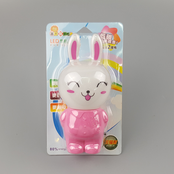 W123 Happy smile rabbit lamp switch plug in led night light For Baby Bedroom wall decoration