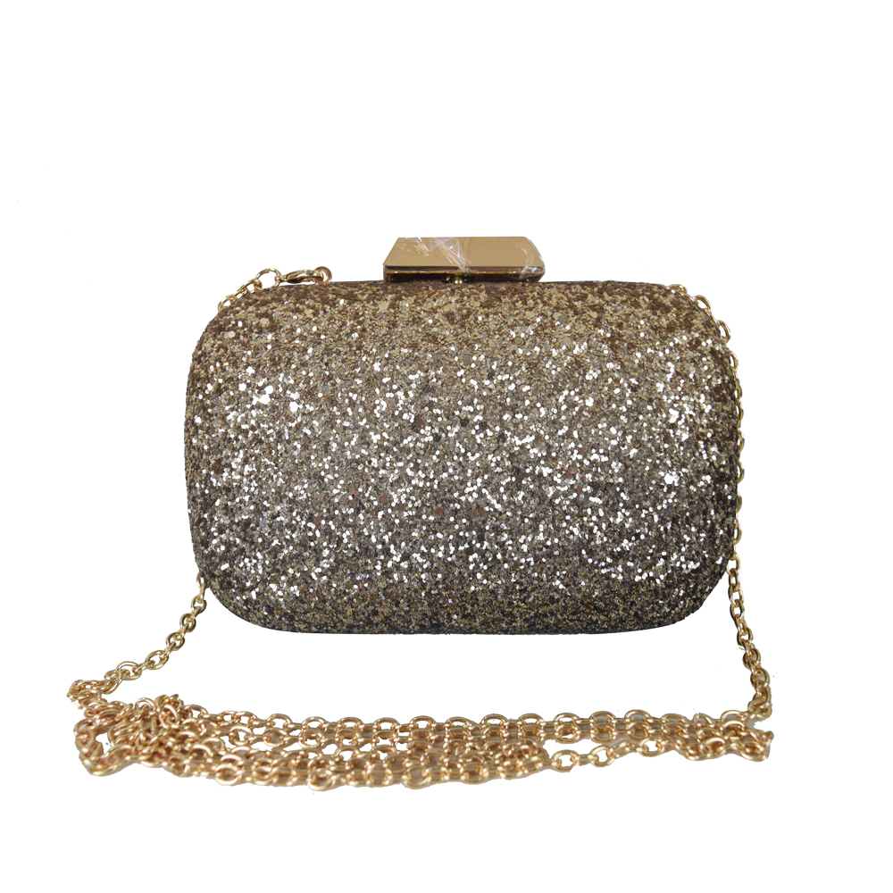 Glitter Bedekt Hard Case Legering Ketting Band Banjara Clutch Bag