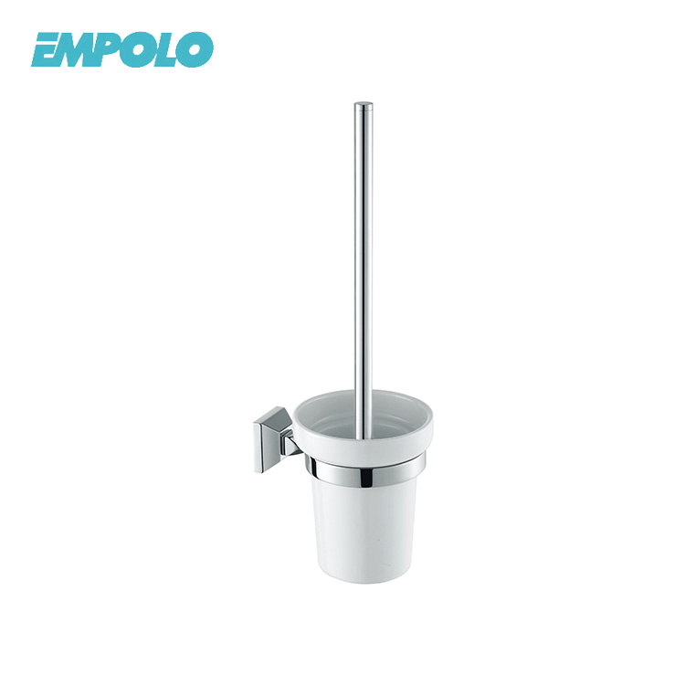 Hotel Family Toilet Brush Holder Wall Mount Frosted Cup Polished Finish Chrome Steel Toilet Brush Holder