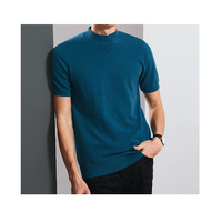 Wholesale Garments 10% Cashmere 90% cotton 16gg knitted Turtleneck Custom t-shirt style For Men in summer
