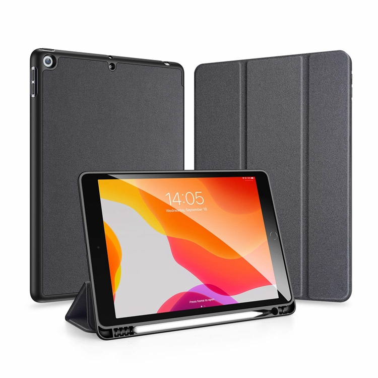 for <strong>iPad</strong> 10.2 Case with Pencil Holder, Soft TPU Back and Magnetic Trifold Stand Cover with Auto Sleep/Wake; Black