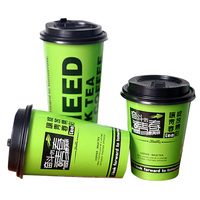 printed disposable double side pe coated compostable pla Biodegradable paper coffee cups with lid and logo for hot cold beverage