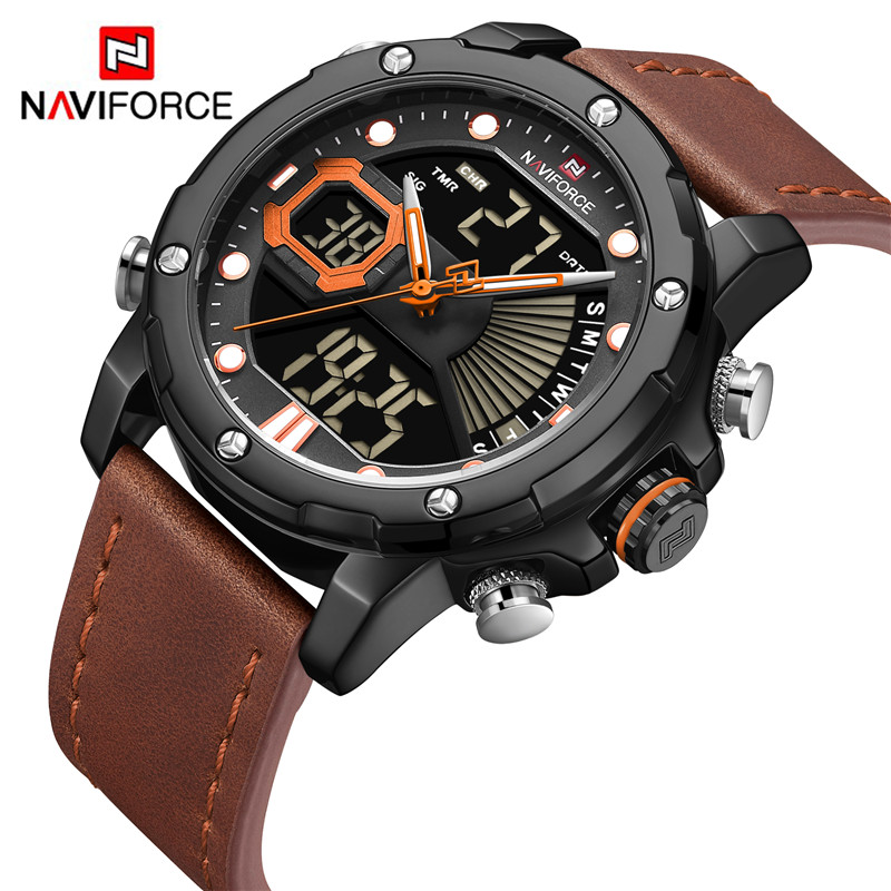 Men Watch Top Luxury Brand NAVIFORCE 9172 Dual Display Quartz Watches Mens Analog Digital Waterproof Clock Relogio Masculino