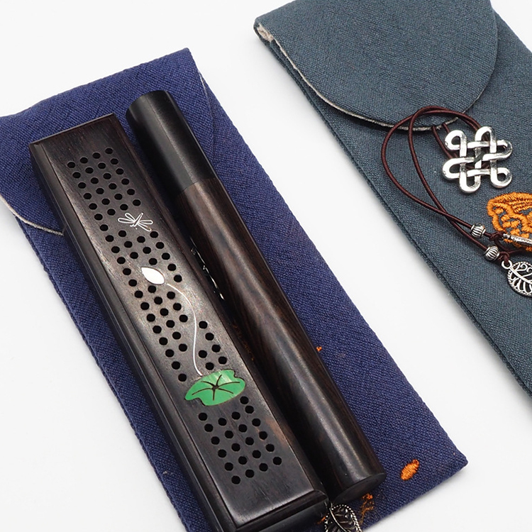 Mini ebony incense burner with stick storage