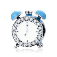 Authentic 100% 925 Sterling Silver Happy Time Clock Hour Bell Charm Beads fit Bracelet Necklaces Jewelry Making Klein