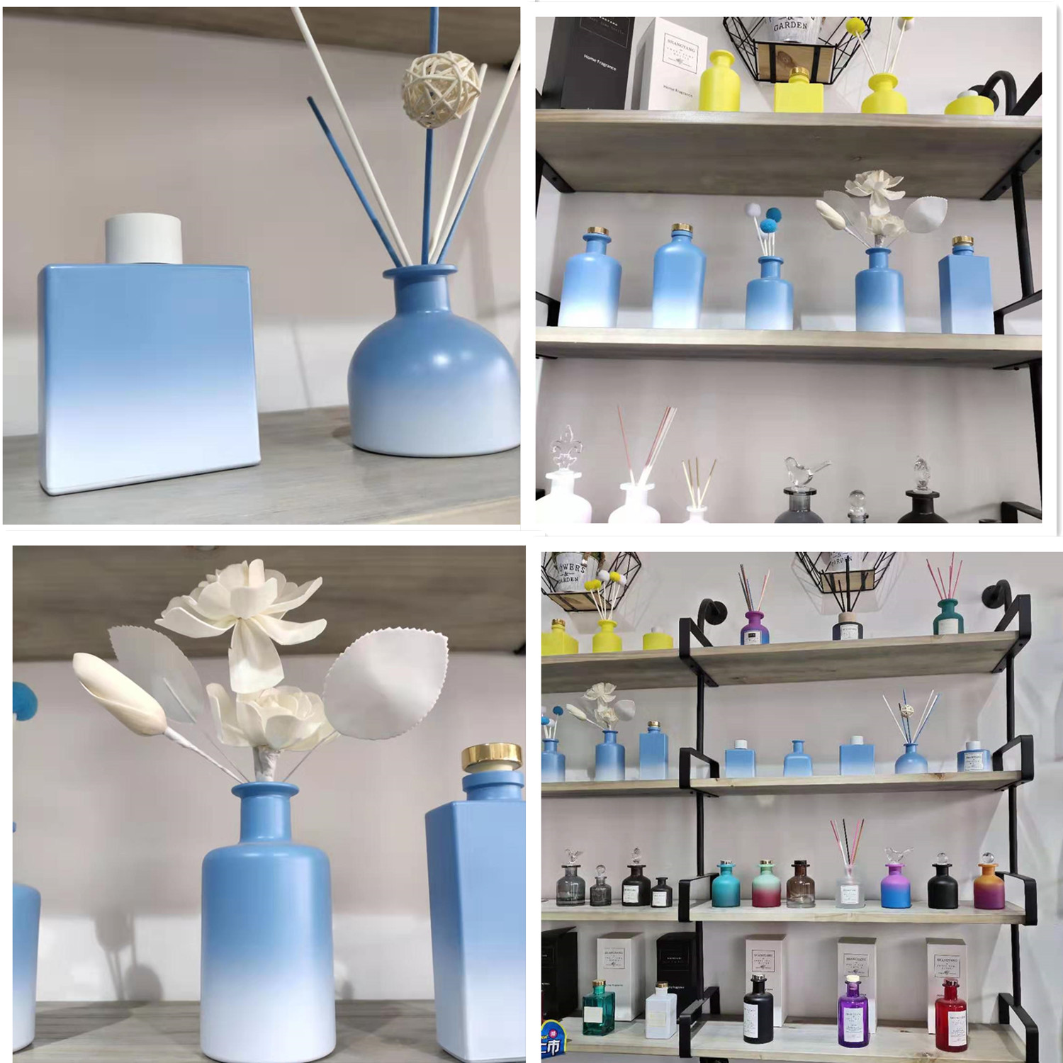 200ml OEM colorful glass bottles personal care essential scent oil use aroma diffuser bottles