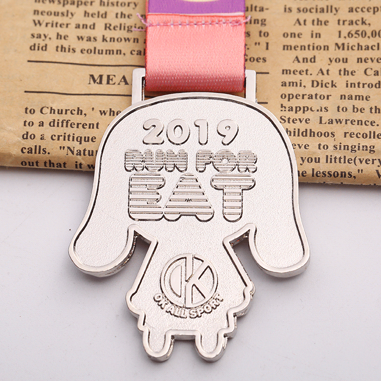 Factory cheap silver metal children funny marathon medal with custom design