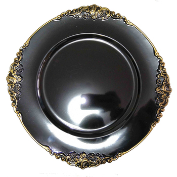 13inch wedding decorative black plastic charger plates