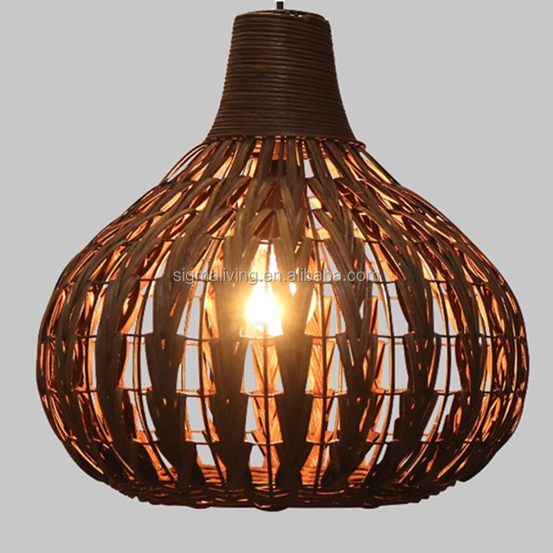 Wicker vintage retro decor coffee shop hanging bamboo light pendant lamp