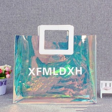 Custom holographic tote <strong>bags</strong> large recyclable shopping <strong>bags</strong> high quality clear transparent tote <strong>bag</strong>