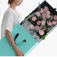 Long Florist Display Ribbon Handle Paper Rose Flower Hat Box Decorative Round Cardboard With Lids Boxes For Roses Packaging