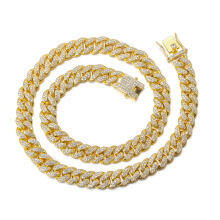 18k Gold Finish Iced Out Hip Hop CZ Miami Cuban Chain Necklace Thick Miami Cuban Link Chain Hip Hop Necklace