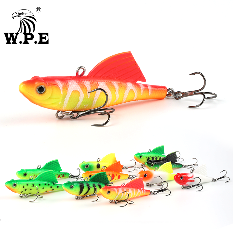 <strong>W</strong>.P.E Soft Lure 1pcs 75mm 23.5g Jig Wobbler Lead Head Swimbait with Treble Hook Silicone Pike Bass Fishing Lure Fishing Tackle