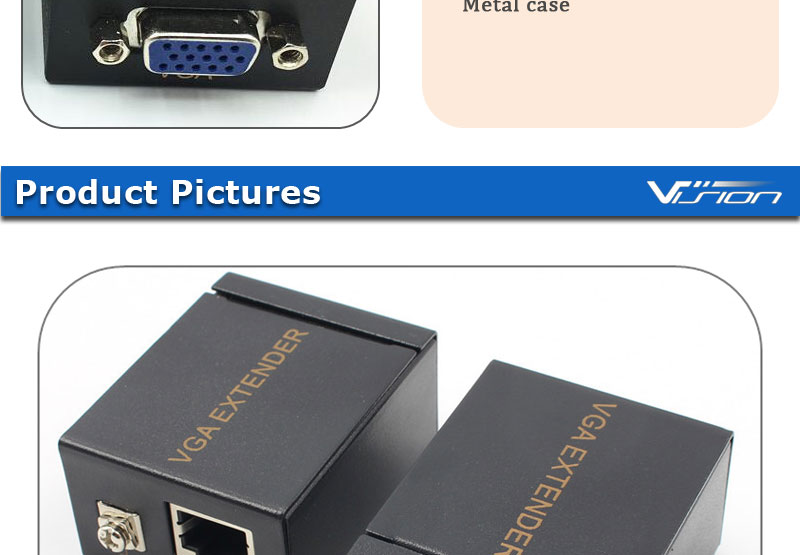 Vision Metal case HD15 VGA 60m extend adapter with RJ45 port