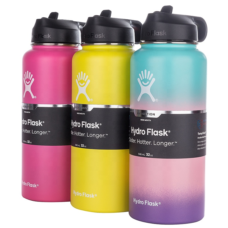 Outdoor sports powder coating double wall flask stainless <strong>steel</strong> hydroflask thermos insulated water bottle hydroflask vacuum