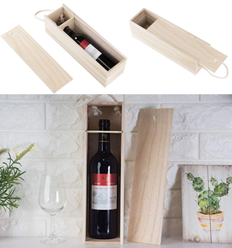 Customized Natural Sliding Lid Wooden Wine Box For Storage