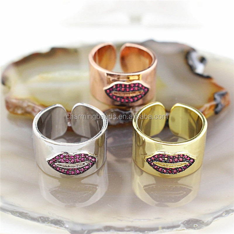 CH-CKR0030 New design multicolor cz inlay ring,cubic zirconia micro pave adjustable ring,plating cz eye jewelry wholesale