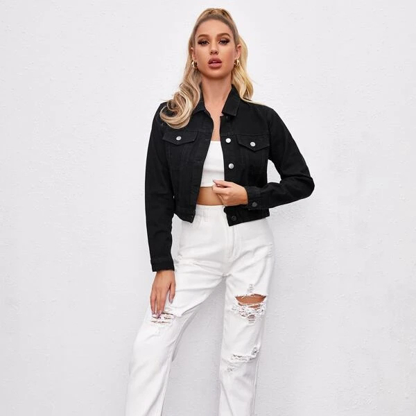 Edge Denim 2020 Trendy Black Denim Jacket Print Butterfly Jean Jacket Butterfly Jacket For Women