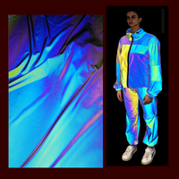 eco friendly washable lightweight polyester rainbow iridescent color fashionable reflective jacket fabric material for clothing