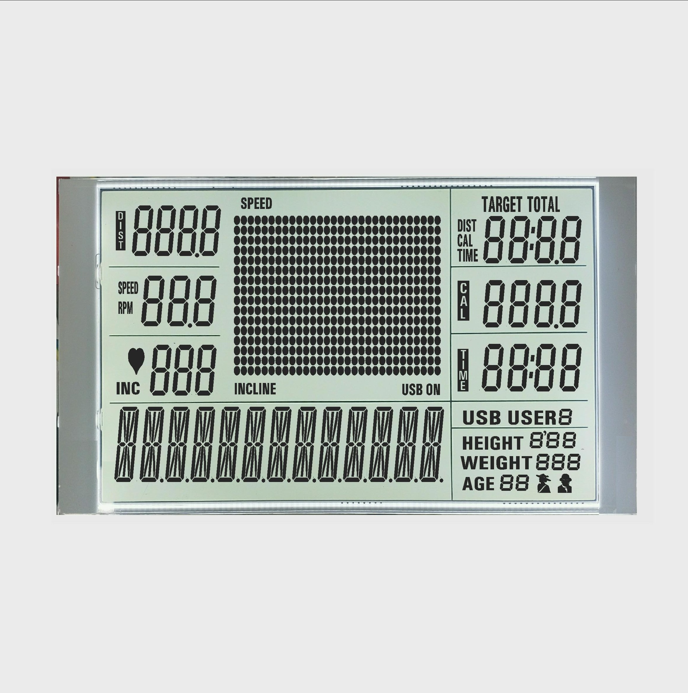 big size b <strong>w</strong> lcd display elastomer lcd for running machine 170 pin 7 segment and 16 segment type digits HTN positive