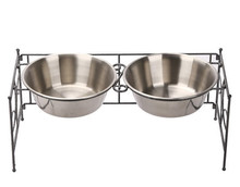 Double <strong>Stainless</strong> <strong>Steel</strong> Rack Stand For Elevated Pet Dog Cat Food