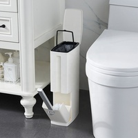 Multi-Function Toilet Brush Integrated Sets With Flip Handle Liner Trash Can Home Bathroom