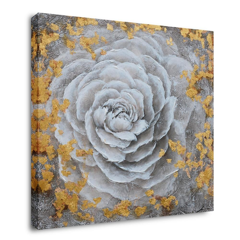 Hand Painted Modern White Flower With Gold Foil Print Artwork <strong>Pictures</strong> With Embellishment On Canvas For Bedroom Decoration