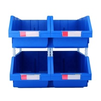 Industrial large plastic stackable storage bin for workshop and garage