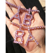 women fashion jewelry necklace pink hip-hop tennis letter diamond <strong>chains</strong>