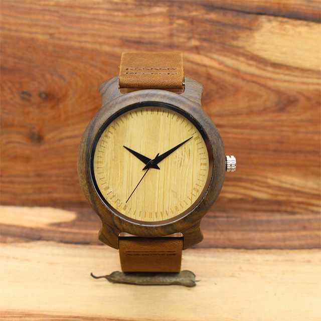 Simple environment-friendly wood watch natural ebony without time scale waterproofing table watch