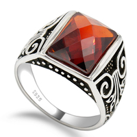 Custom 925 Sterling Silver Red Zircon Stone Gatner Rings for Men ,Vintage Men Ring Accessories For Wedding Bands Jewelry
