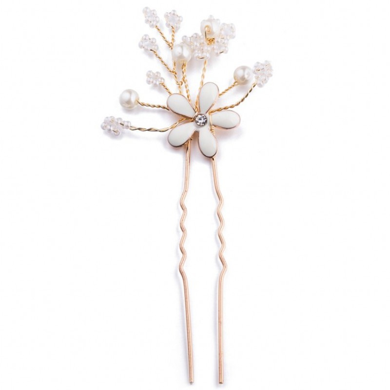 Handmade Gold Flower Pearl Bridal Hairgrips Wedding Women Hair Pins For Bride