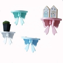 Kids room decorative strong wooden bowknot hanging wall decor <strong>shelf</strong>