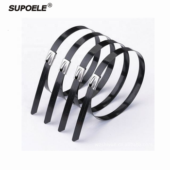Self Locking 4.6mm*300mm PVC Plastic Coated Stainless Steel Cable Tie, SS 304 With Plastic Coated Cable Ties