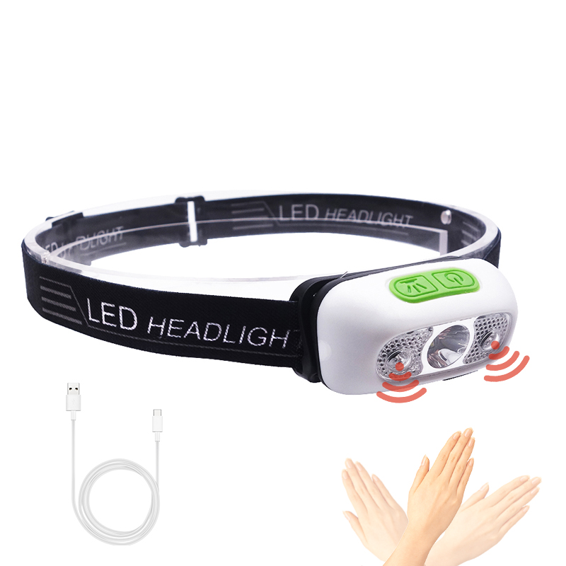 Auto Head Torch Lamp 3W LED 120lm Motion Sensor usb Rechargeable Led Headlamp