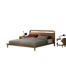 Foshan Factory wood beds Queen/King Size wholesale bed Solid wood double bed design