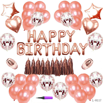 Happy Birthday Decorations Balloons Birthday Party Supplies Rose Gold Confetti Balloons Birthday Banner Star Balloons