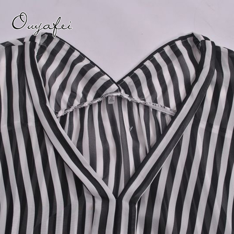 Good quality 100%polyester striped summer apparel stocks women