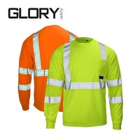 Long sleeve hi vis reflective road safety t shirt men