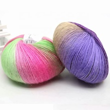 50g wool Yarn Knitted Chunky Hand-Woven Woolen Rainbow Colorful Knitting Scores <strong>100</strong>% Wool Yarn Needles Crochet Weave Thread
